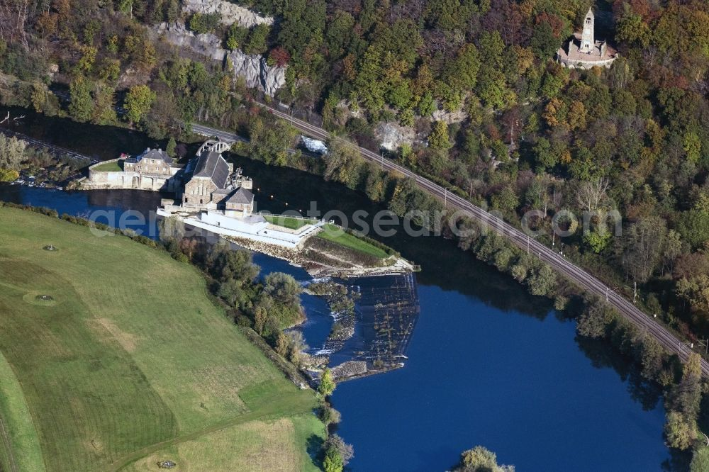 Aerial photograph Witten - Structure and dams of the waterworks and hydroelectric power plant Hohenstein of innogy SE in Witten in the state North Rhine-Westphalia, Germany