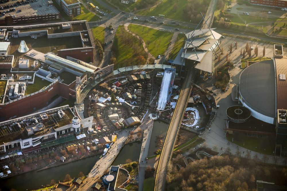 Centro Weihnachtsmarkt.Oberhausen From The Bird S Eye View Christmas Market And Sledge