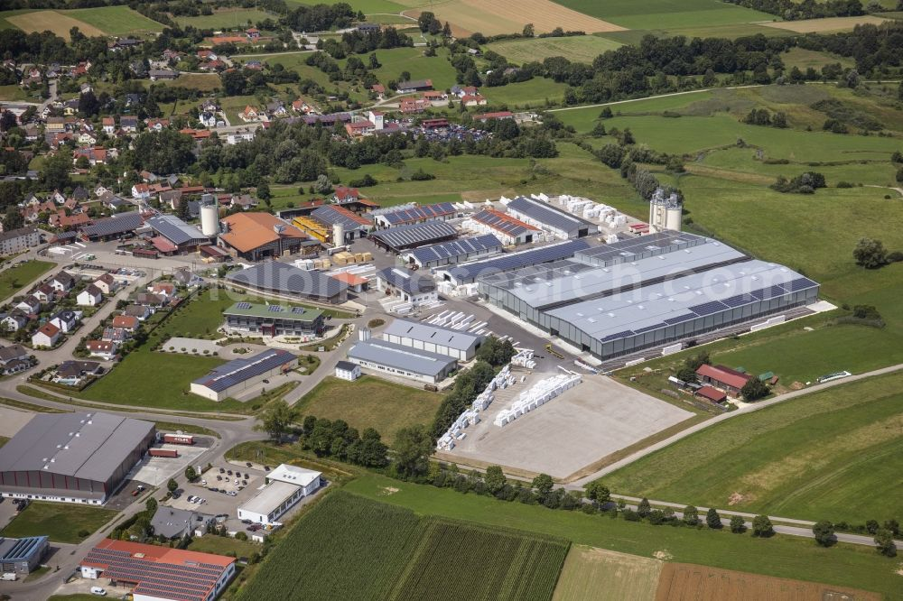 Ziemetshausen from the bird's eye view: Buildings and production halls on the premises of the company Asta Holzwerk GmbH in Ziemetshausen in the state Bavaria, Germany