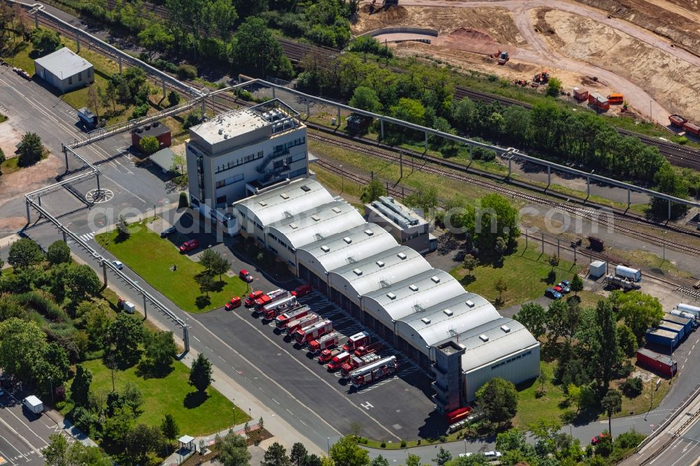 Aerial image Ingelheim am Rhein - Building and production halls on the premises of the chemical manufacturers Boehringer Ingelheim Pharma GmbH & Co. KG in Ingelheim am Rhein in the state Rhineland-Palatinate, Germany