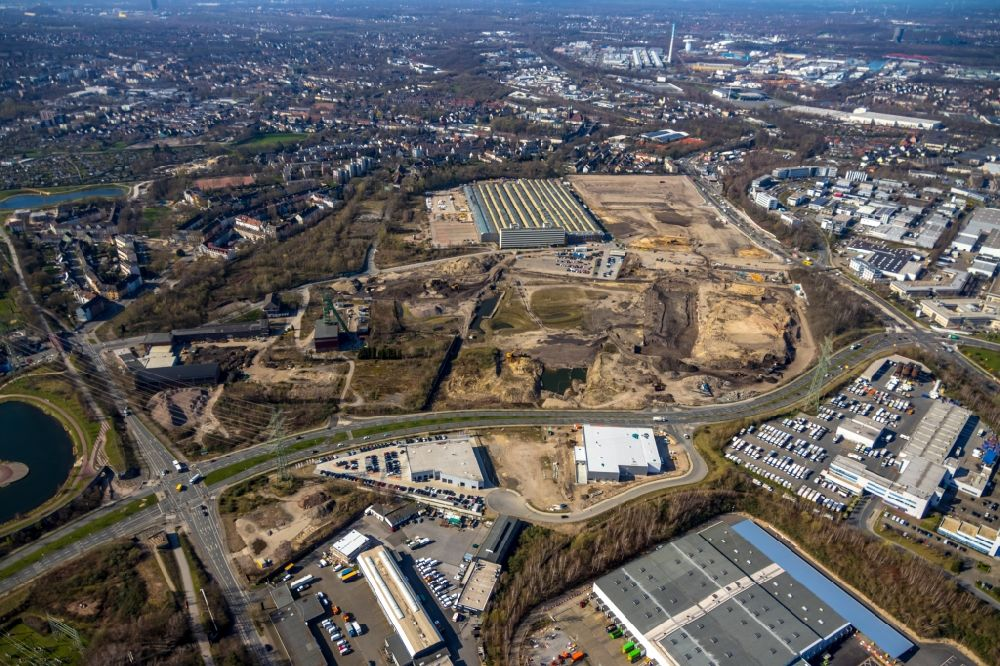 Essen from the bird's eye view: Building and production halls on the premises of Epiroc Deutschland GmbH on Helenenstrasse in the district Bochold in Essen in the state North Rhine-Westphalia, Germany