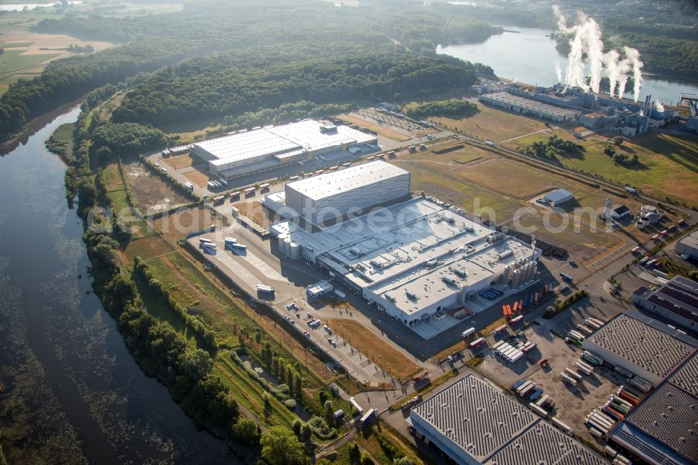 Wörth am Rhein from above - Building and production halls on the ...