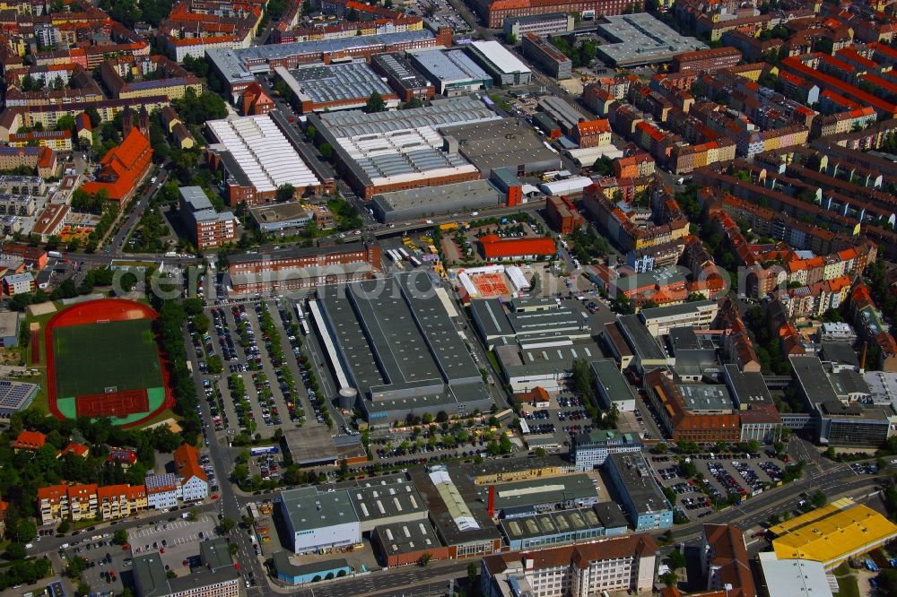 Nürnberg from above - Building and production halls on the premises of SIEMENS AG in the district Gugelstrasse in Nuremberg in the state Bavaria, Germany