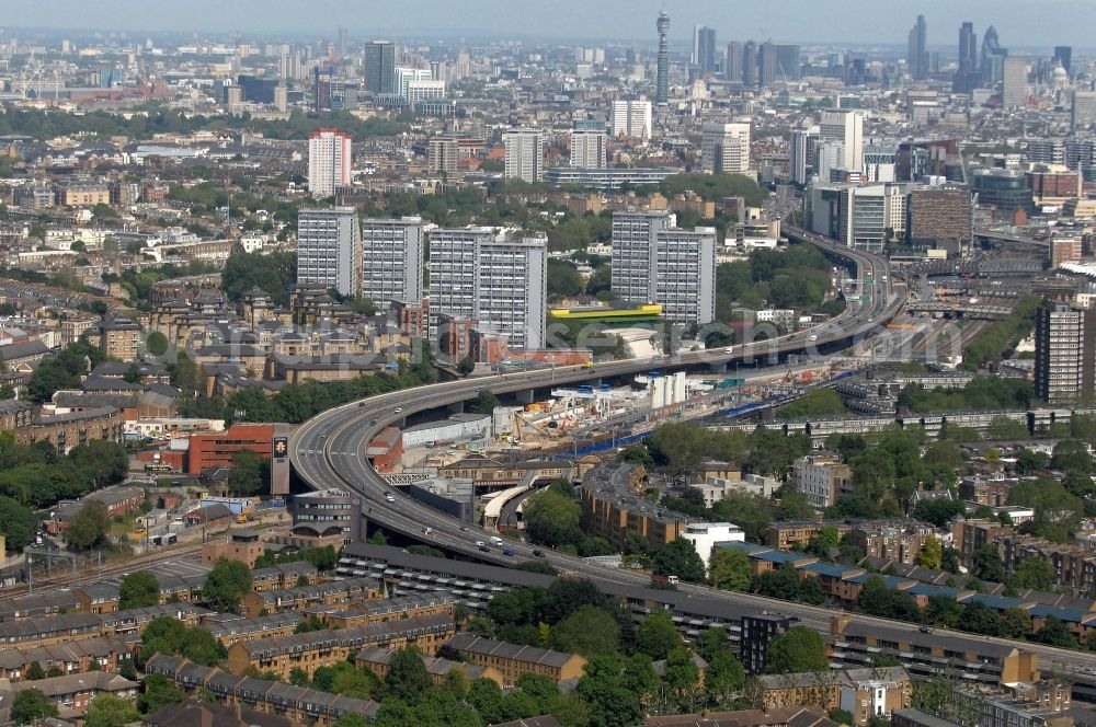 Aerial photograph London - View of the Westway of the A40 Road in the district City of Westminster in London in the county Greater London in the UK