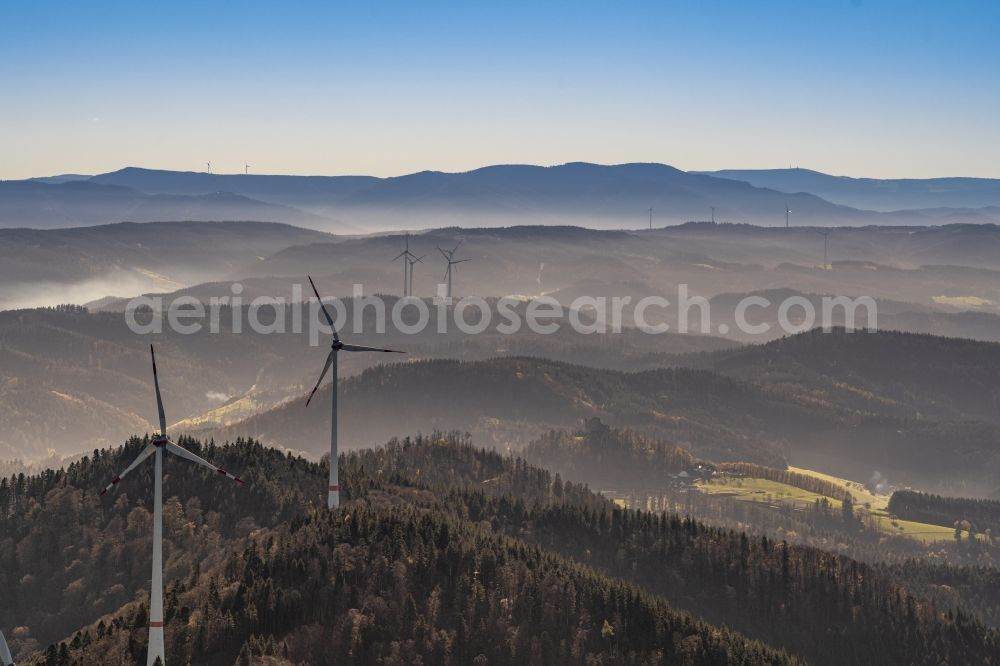 Offenburg from the bird's eye view: Weather-induced wind energy installations embedded in a fog layer in Offenburg in the state Baden-Wuerttemberg, Germany