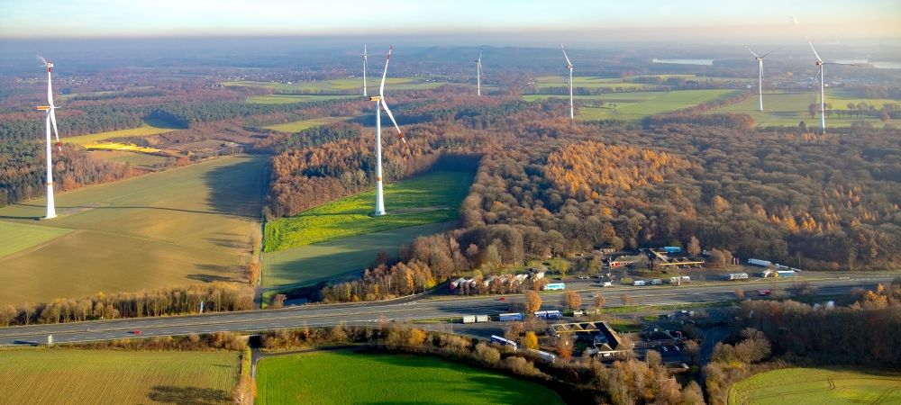 Haltern am See from the bird's eye view: Wind turbine windmills on a field in Haltern am See in the state North Rhine-Westphalia, Germany
