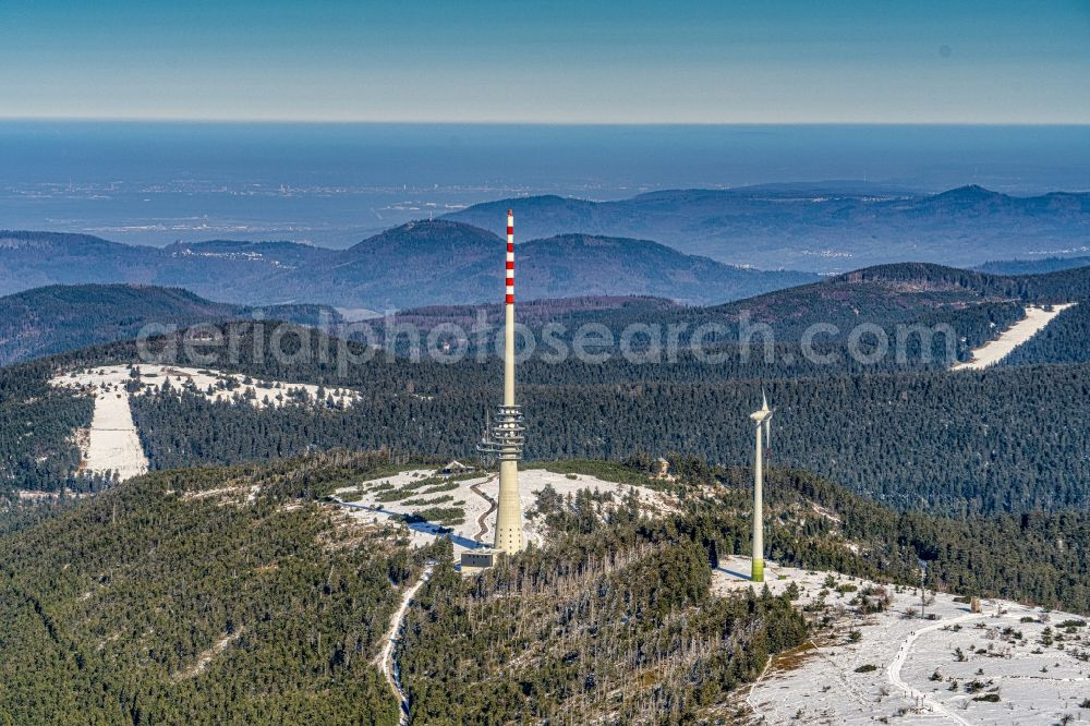 Aerial photograph Sasbachwalden - Wintry snowy television Tower in Sasbachwalden in the state Baden-Wurttemberg, Germany