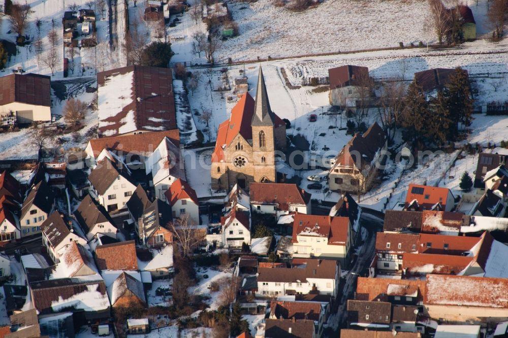 Fine Aerial Image Billigheim Ingenheim Wintry Snowy Town View Interior Design Ideas Skatsoteloinfo
