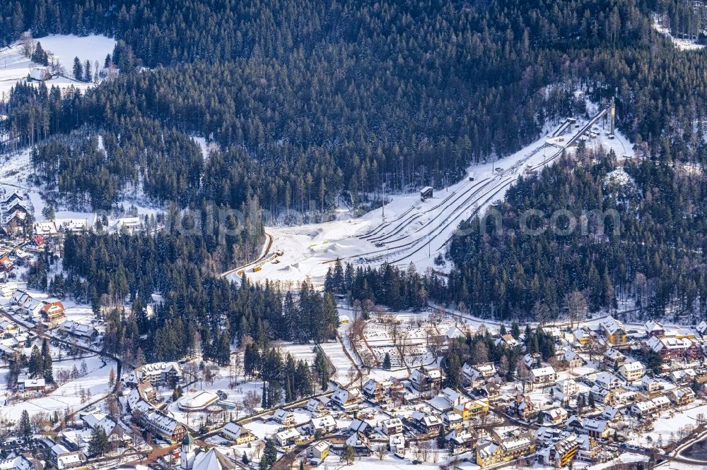 Aerial image Hinterzarten - Wintry snowy training and competitive sports center of the ski jump Adler Schanze in Hinterzarten in the state Baden-Wurttemberg, Germany