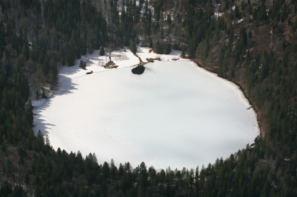 Hinterzarten from above - Wintry snowy and icy areas on the lake Feldsee in Feldberg (Schwarzwald) Black Forest in the state Baden-Wuerttemberg
