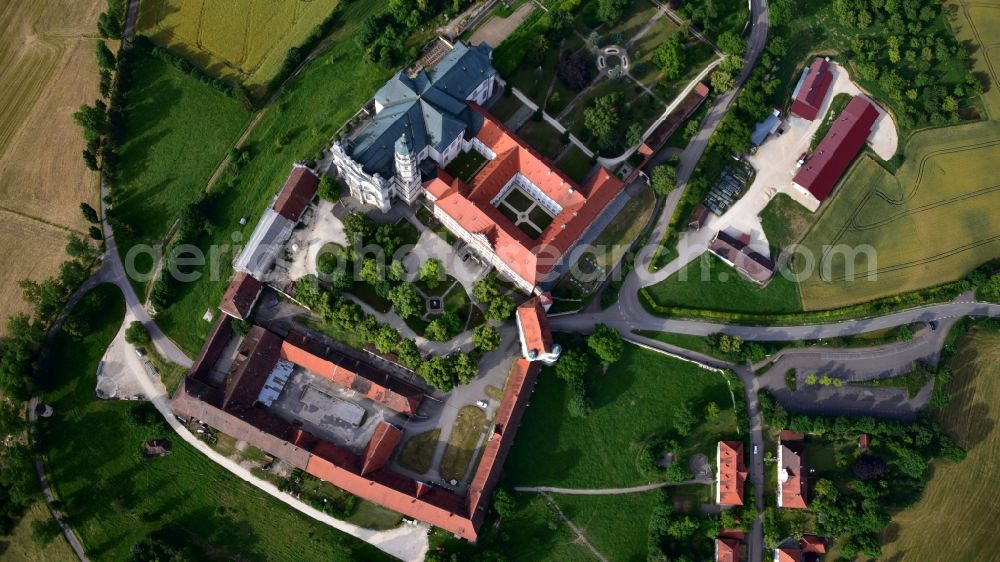 Vertical aerial photograph Neresheim - Vertical aerial view from the satellite perspective of the complex of buildings of the monastery Abtei Benediktinerkloster in Neresheim in the state Baden-Wuerttemberg, Germany