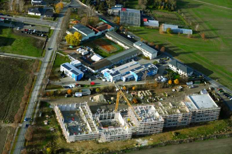 New construction site of the school building between Ahrensfelof Chaussee in the district Lindenberg in Ahrensfelde in the state Brandenburg, Germany