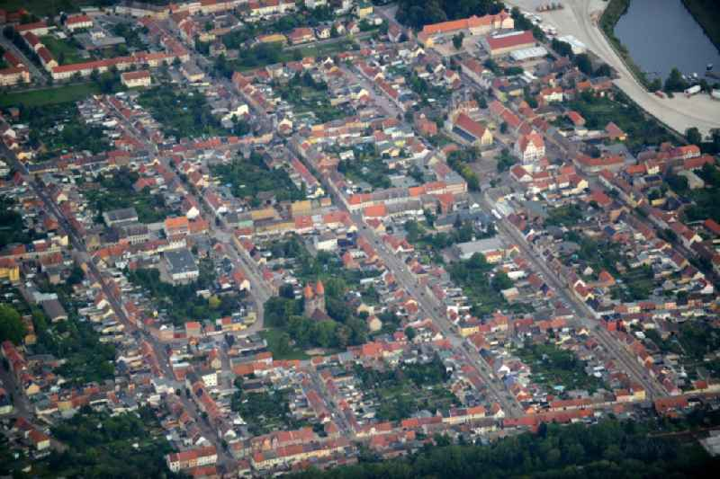 View of Aken in the state of Saxony-Anhalt. The town consists of a symmetrical residential area on the Elbe riverbank