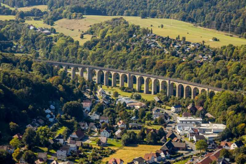 Viaduct of the railway bridge structure to route the railway tracks in Altenbeken in the state North Rhine-Westphalia, Germany