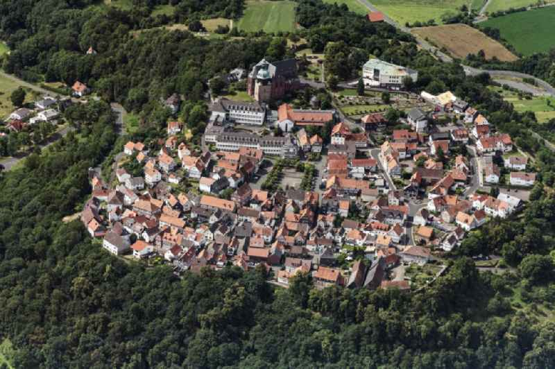 Surrounded by forest and forest areas center of the streets and houses and residential areas in Amoeneburg in the state Hesse, Germany