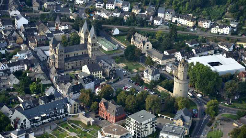 Church building of the cathedral and Rander Turm in the old town in Andernach in the state Rhineland-Palatinate, Germany