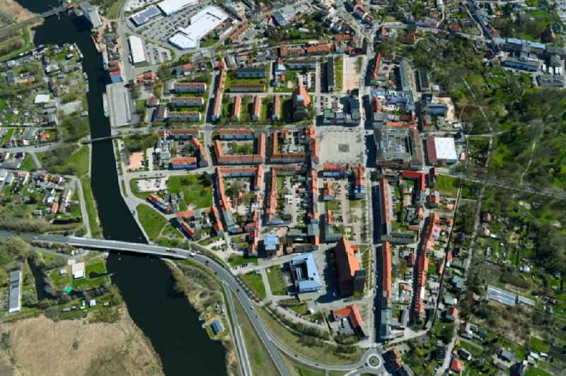 Old Town area and city center in Anklam in the state Mecklenburg - Western Pomerania, Germany