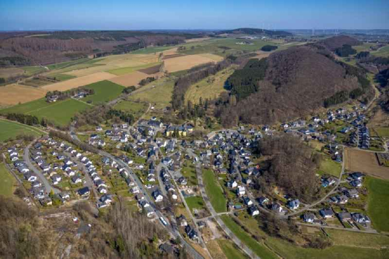 Town View of the streets and houses of the residential areas in Antfeld at Sauerland in the state North Rhine-Westphalia, Germany
