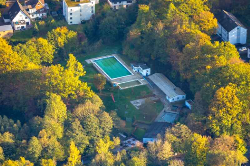Swimming pool of the 'Freibad Storchennest' Zum Hohen Nacken in the district Uentrop in Arnsberg in the state North Rhine-Westphalia, Germany