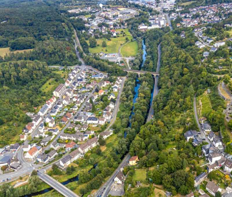 Residential area of the multi-family house settlement Unterm Roemberge - Tiergartenstrasse in Arnsberg in the state North Rhine-Westphalia, Germany