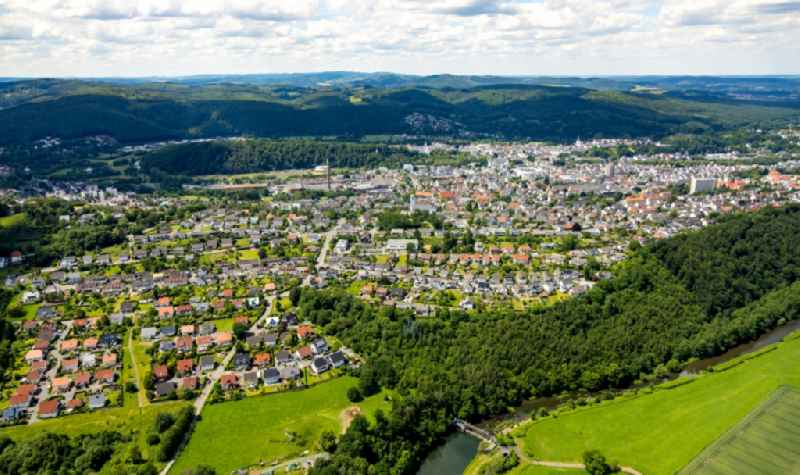 Surrounded by forest and forest areas center of the streets and houses and residential areas along the Ruhrblick in Arnsberg in the state North Rhine-Westphalia, Germany
