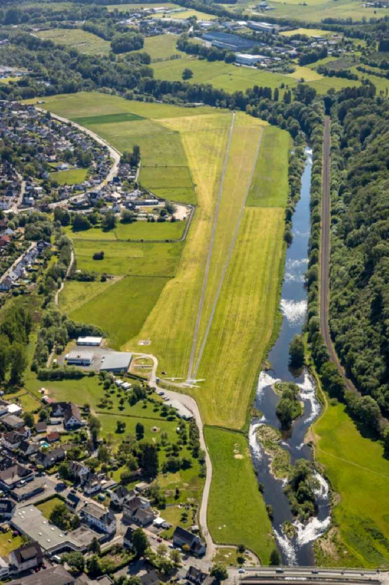 Airfield Oeventrop in the district Oeventrop in Arnsberg in the state of North Rhine-Westphalia, Germany