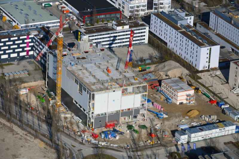 Construction site for the new parking garage Karl-Hammerschmidt-Strasse corner Dywidagstrass in the district Dornach in Aschheim in the state Bavaria, Germany