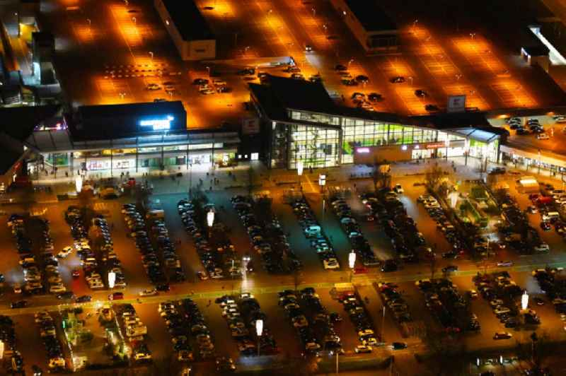 Night lighting building complex of the shopping center KaufPark Eiche der Unibail-Rodamco Germany GmbH in Ahrensfelde in the state Brandenburg