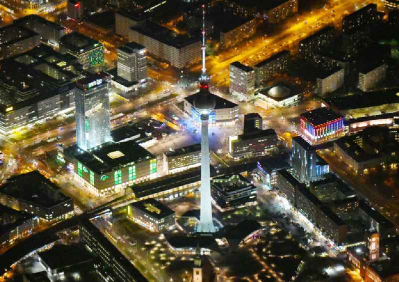 Night lighting The city center in the downtown area on tv- tower - Alexanderplatz in the district Mitte in Berlin, Germany
