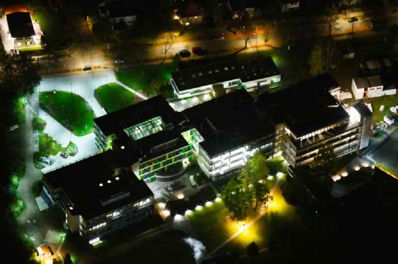 Night lighting Building complex of the Institute Max-Planck-Institut fuer molekulare Genetik on Ihnestrasse in the district Dahlem in Berlin
