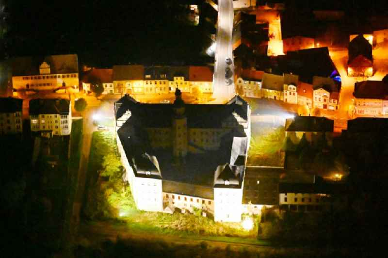Night lighting castle of in Coswig (Anhalt) in the state Saxony-Anhalt, Germany
