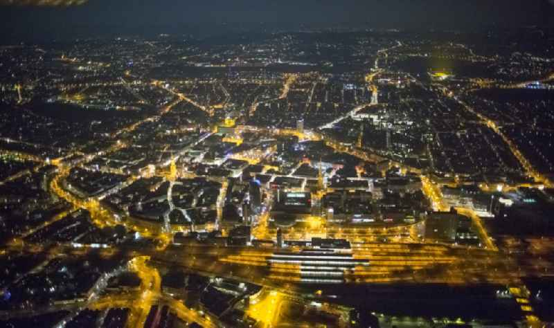 Dortmund city center at night in the state of North Rhine-Westphalia.