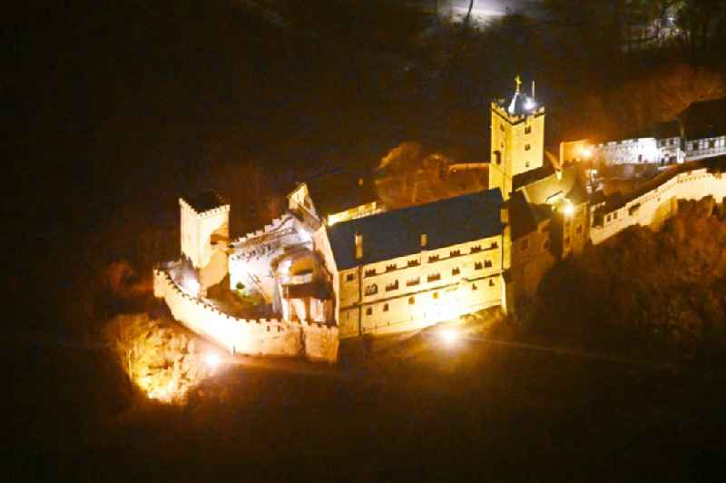 Night lighting castle of the fortress Wartburg in Eisenach in the Thuringian Forest in the state Thuringia, Germany