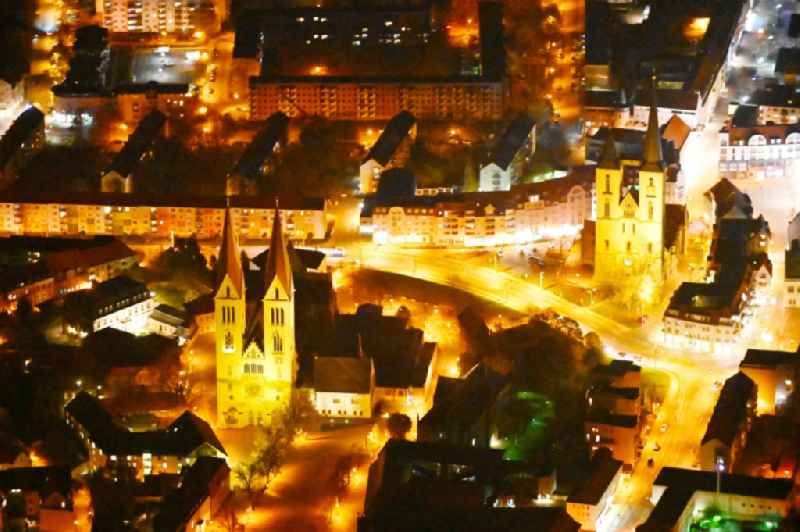 Night lighting church building of the cathedral and Domschatz in Halberstadt in the state Saxony-Anhalt, Germany