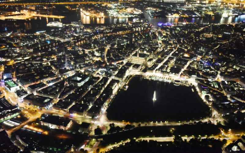 Night view Riparian areas on the lake area of Binnenalster city center of Hamburg.