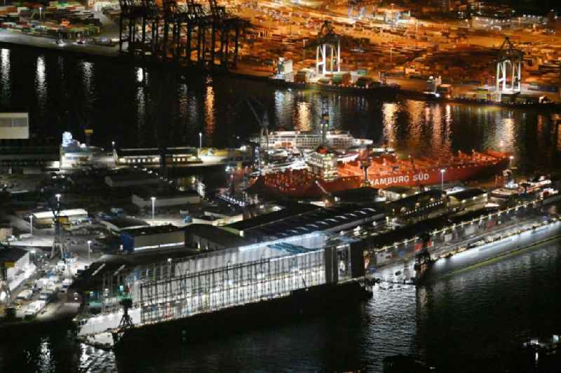 Night lighting Shipyard - site of the Blohm + Voss in the district Kleiner Grasbrook in Hamburg
