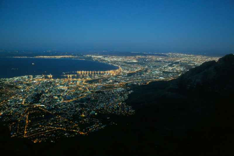 Night view of Center on the seacoast of South Atlantic in Cape Town in Western Cape, South Africa.