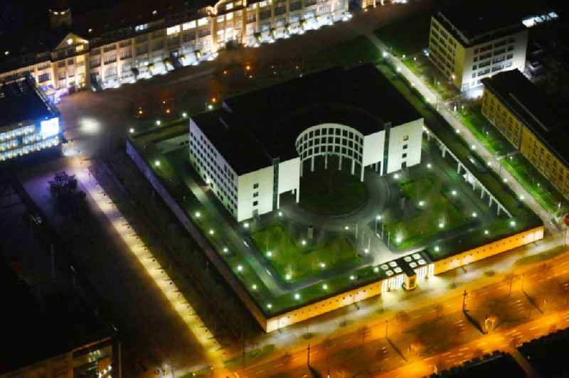 Night lights and lighting GBA administrative building of the state authority 'Federal Attorney General at the Federal Court of Justice' on Brauerstrasse in the district of Suedweststadt in Karlsruhe in the state Baden-Wurttemberg, Germany