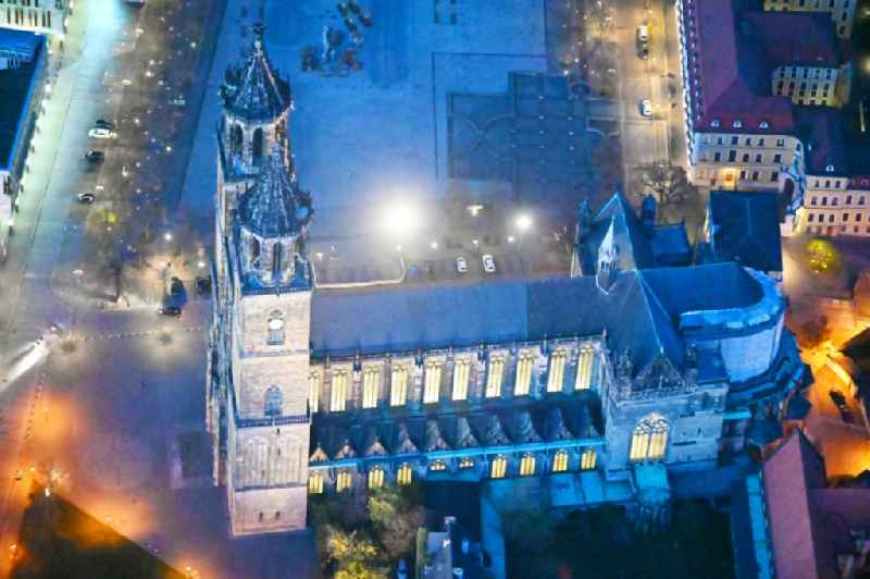 Night lighting church building of the cathedral in the district Altstadt in Magdeburg in the state Saxony-Anhalt
