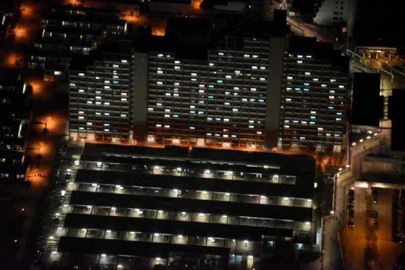 Night view  of the students residential complex Olympic Village highrise of the student services in Munich in the state Bavaria.