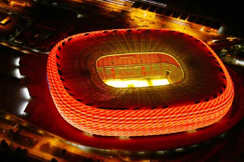 Night lighting sports facility grounds of the Arena stadium ' Allianz Arena ' on Werner-Heisenberg-Allee in Munich in the state Bavaria, Germany
