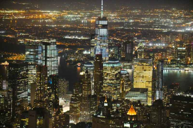 Night lighting City view of the city area of in the district Manhattan in New York in United States of America