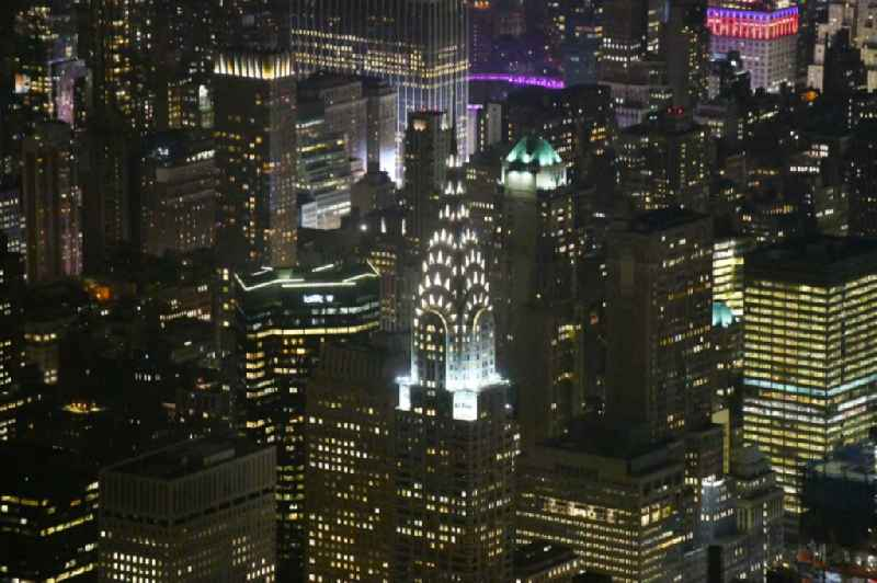 Night lighting High-rise buildings ' Chrysler Building ' on Lexington Avenue in New York in United States of America