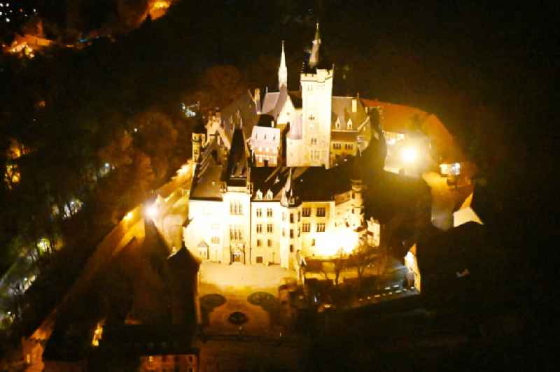 Night lighting castle of the fortress Schloss Wernigerode in Wernigerode in the state Saxony-Anhalt, Germany
