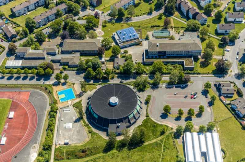 Building of the circular gymnasium in Attendorn in the state North Rhine-Westphalia, Germany