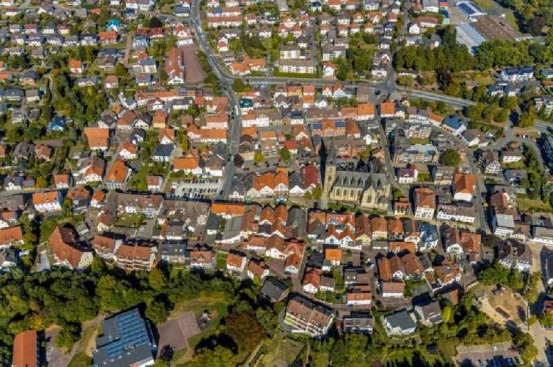 The city center in the downtown area in Bad Driburg in the state North Rhine-Westphalia, Germany