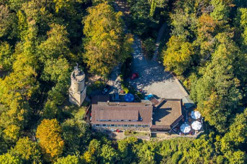 Castle of the fortress 'Iburg' with dem 'Kaiser-Karl-Turm' in Bad Driburg in the state North Rhine-Westphalia, Germany