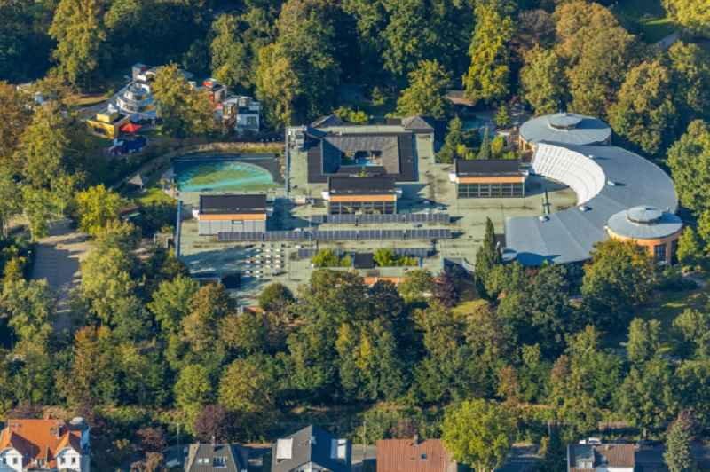 Building of the Spa and Event house and park of the 'Staatsbad Bad Oeynhausen' with theater and clinic buildings in the district Gohfeld in Bad Oeynhausen in the state North Rhine-Westphalia, Germany