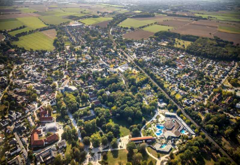 Village view on the edge of agricultural fields and land in Bad Sassendorf in the state North Rhine-Westphalia, Germany