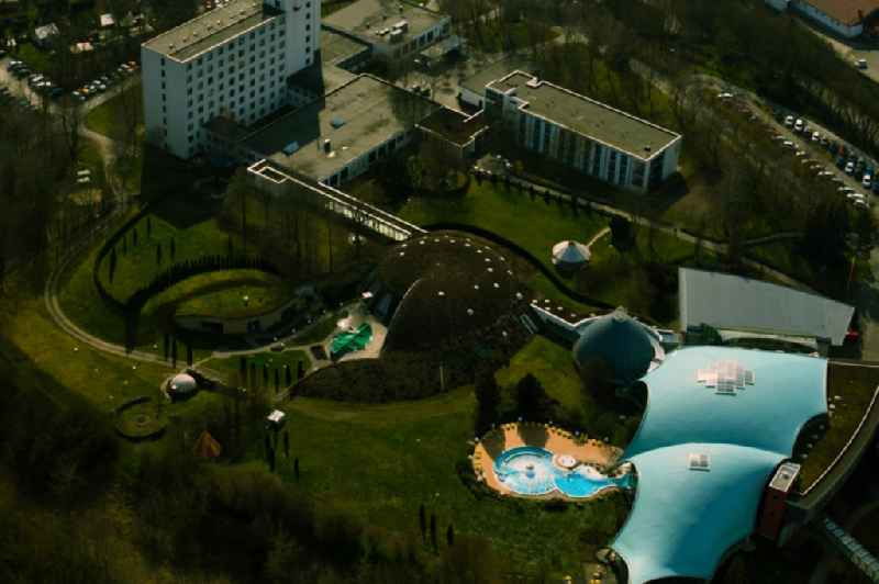 Building complex and complex of the 'Toscana Therme' with swimming pools and rest areas in Bad Sulza in the state Thuringia, Germany